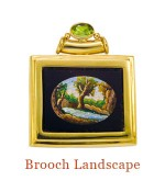 """A very collectible bucolic landscape from the mid-1800s in pristine condition, surrounded by an 18k stepped frame with pin back and a bezel-set peridot atop the tube through which the chain can pass to wear it as a pendant. - overall size, 1.2""""W  X  1.4""""H<br />$6,000.00, including 18"""", 18k chain"""