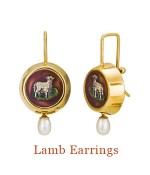 "Sweet lambs on a background of spring green grass, so very sentimentally Victorian. These came to Cristen unset and ready for their 21st century debut. Set in deep 18k bezels with freshwater pearls that dangle below. The pearls are attached almost invisibly inside the bezel and move as they dangle. They hang from 18k Cristen Wires. - overall length, 1.2""  $5,000.00"