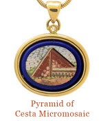 "Description: Inspired by the Egyptian Pyramids, the Piramide Cestia was built in 18 BC - 12 BC as a tomb for Cauis Cestius, a magistrate and member of one of the four great religious corporations at Rome. Surrounded by an 18k bezel and accented with a diamond, it is ready to sparkle and intrigue on your favorite necklace, or inquire about Cristen's available chains.<br />-overall size, 1""  X  1.5"" including bail.  $3,750.00"