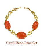 "The un-dyed coral cabochons have been polished to their original sheen and a modern clasp has been added finally, the gold links have been polished. This is one of the most charming of bracelets and ready to be worn alone or layered with others. The cabochons center 19mm W, 2 side, 20mm - overall length, 8""  $1,200.00"