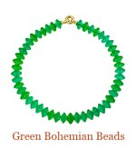 """Made in Eastern Europe around the turn of the century and traded in Africa, these round faceted beads are the most gorgeous green and all so closely matched in color and size. As in any fine antique, they have that unmistakable patina of age. Secured with around 14k clasp. - overall length, 18"""",  $1,200.00"""