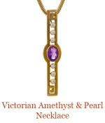 """This Art Deco period pendant began as a bar pin.  An oval Amethyst is flanked by 3 pearls on each side with the classic Greek Key motif at either end. -overall length of pendant 1.5"""" suspended from a removable 14k, 18"""" snake chain. $1,400.00"""