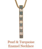 """An Art Deco period 14k bar pin adorned with pearls and turquoise enamel  became  a sassy pendant.<br />- overall length of pendant 1.6"""", suspended from a removable 14k, 18"""" snake chain. $1,200.00"""