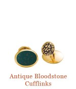 "Exceptional antique oval  bloodstone cuff links designed by Jon Marquam for Cristen Jewels.   Set in their original 14k bezels with solid gold backs, and new burnished gold lion head studs, these are truly classics <br />for the modern man. <br />- overall size 0.5""  x 0.7""  $1,200.00"