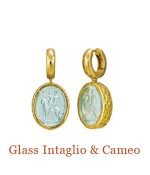 "Pictured riding on a lioness are two Greco-Roman men. A pale blue Italian glass intaglio.18k hammered texture bezels swing from 18k Cristen Snuggie Hoops. - overall length, 1.2""  $2,200.00"