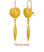"These earrings epitomize the Romanticism of the Art Nouveau Period at the turn of the 20th century.<br />They were created in 18k gold from the front and back of cuff links.  Elegantly suspended from distinctive Cristen Wires and Hooks. - overall length 2.0"",  $2,000.00"