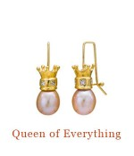 "Pink Freshwater Pearl Drops with substantial 18k gold crowns each surrounded by 5 brilliant square cut diamonds suspended from distinctive 18k Cristen Wires and Hooks - overall length, 1.3"",  $4,500.00"