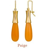 "Smooth Carnelian Drops suspended from substantial 18k Diamond topped caps with distinctive 18k Cristen Wire and Hook - overall length, 2"",  $2,500.00"