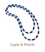 """A continuous loop of square Lapis beads and Freshwater Pearls. It is a very nice length to layer with other necklaces or just give that sought after elongated look. overall length - 30"""",   $395.00"""
