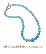 """Hand Knotted graduated and gorgeous quality Aquamarine beads.  The largest 10mm, with a substantial custom 18k Cristen Toggle Clasp accented by two Aquamarine cabochons.  Wear them with the large bead front and center or switch and wear the Cristen Toggle in front. - overall length, 18"""", $3,000.00"""