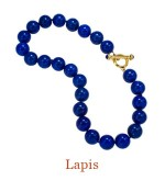 """Hand Knotted 16mm Lapis beads with 18k custom substantial Cristen Toggle Clasp accented by two Lapis cabochons. Wear the clasp front and center or on the side for a sophisticated look, or attach an enhancer. - overall length 18"""",  $2,000.00"""