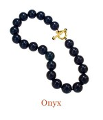 """Hand Knotted 18mm beads with 18k yellow gold substantial custom Cristen Toggle Clasp accented by two Onyx cabochons. Wear the clasp front and center or on the side for a sophisticated look, or attach an enhancer. - overall length 18"""",  $1,450.00"""
